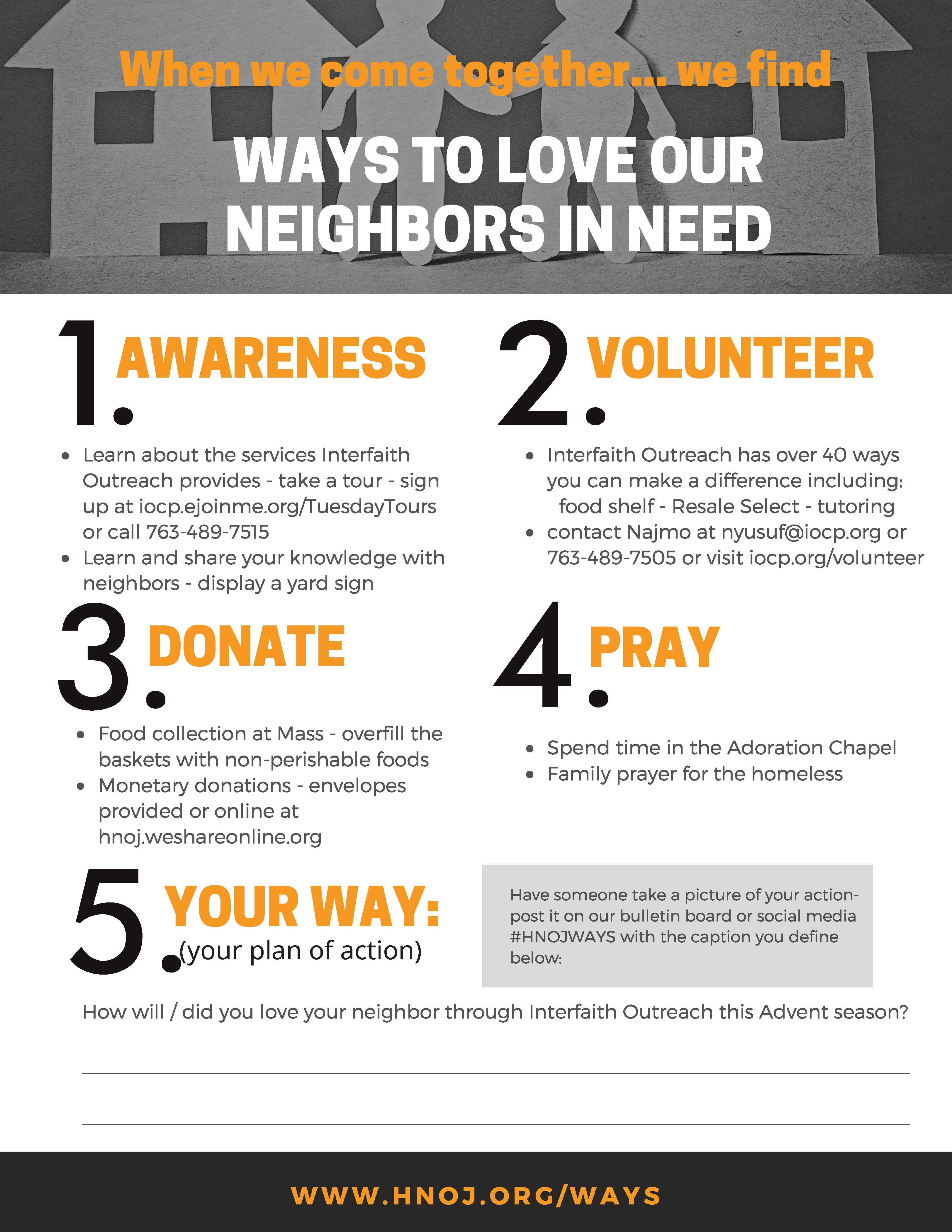 Ways To Love Our Neighbors In Need Flyer Page 1