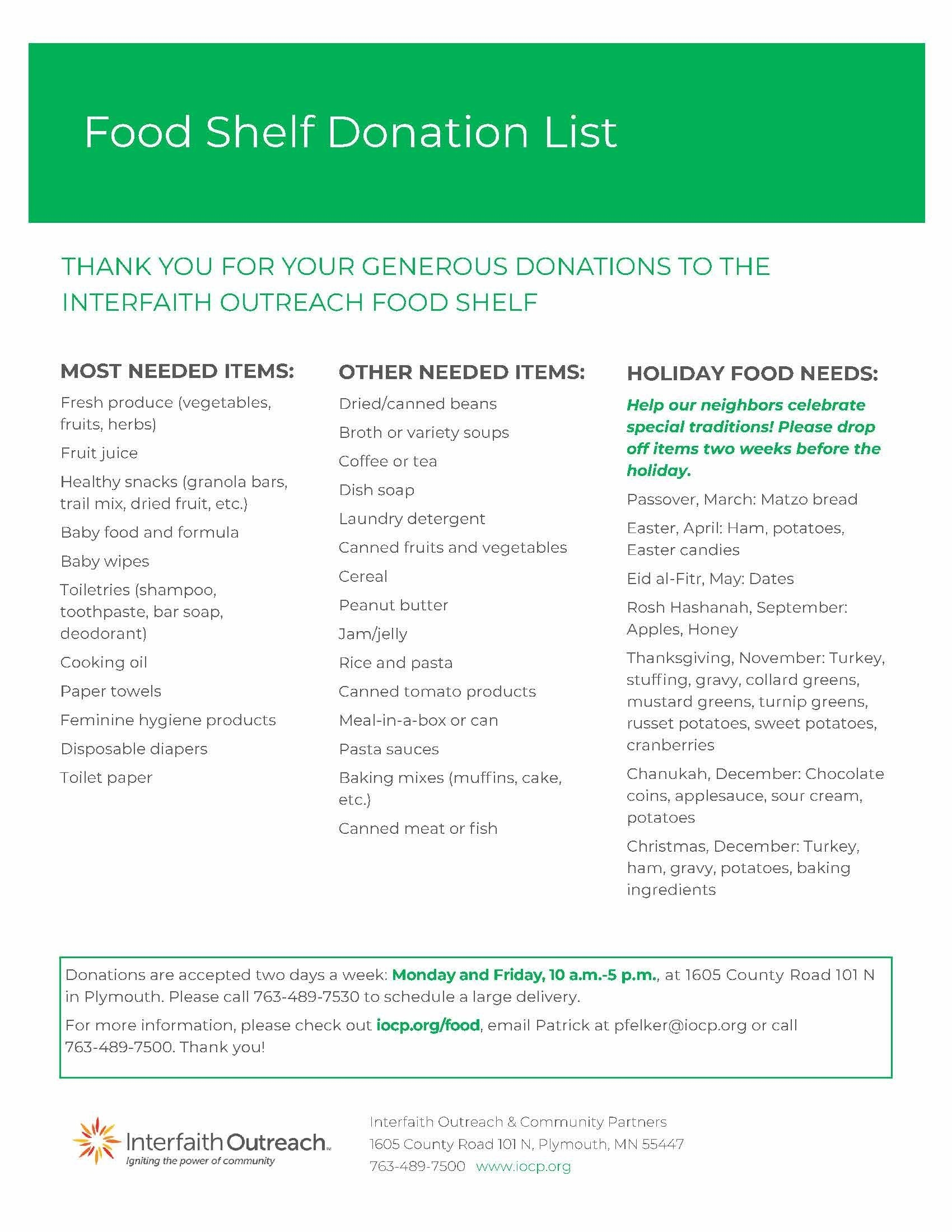 Interfaith Food Shelf Needed Items