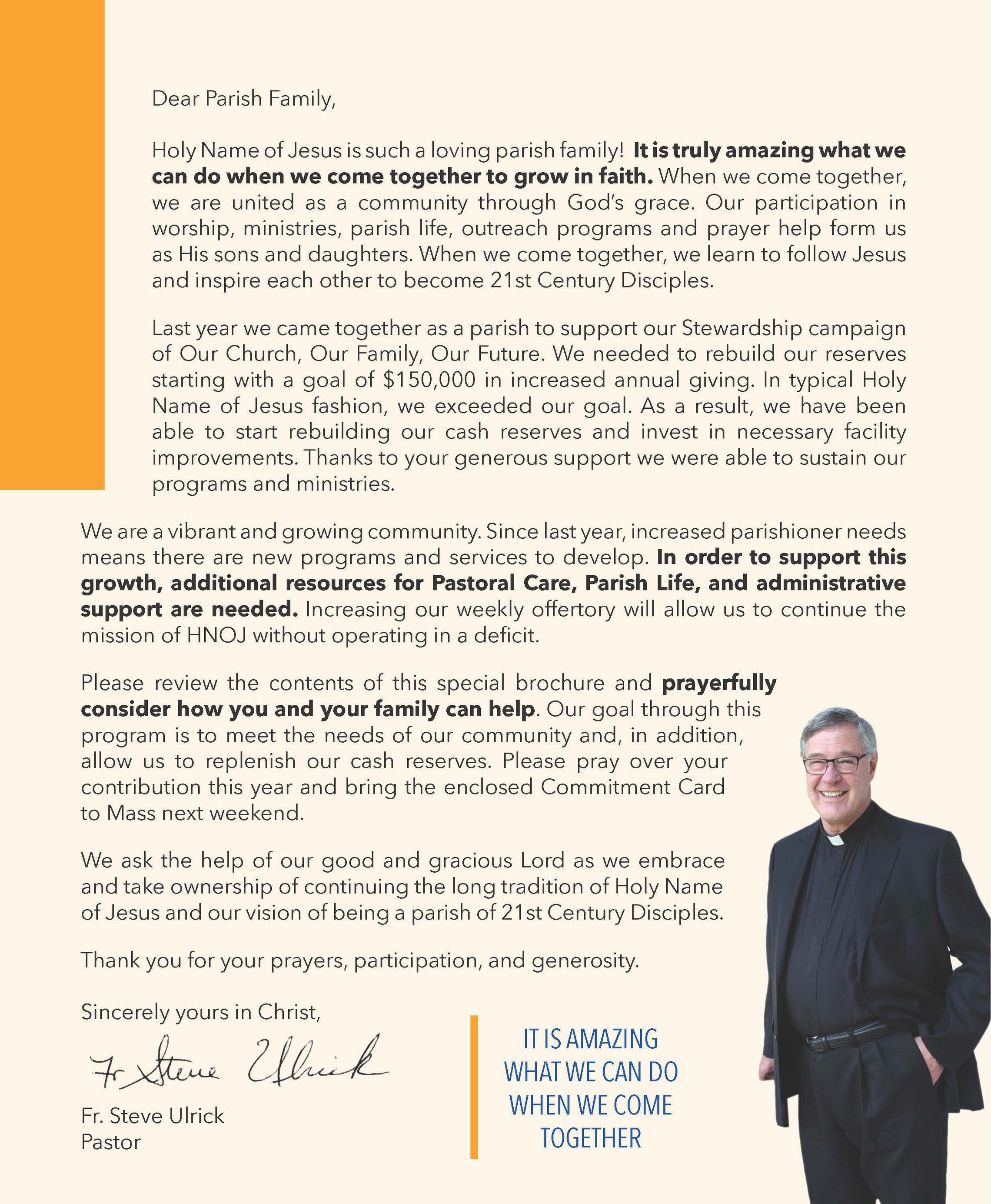 Stewardship Brochure Fr. Letter