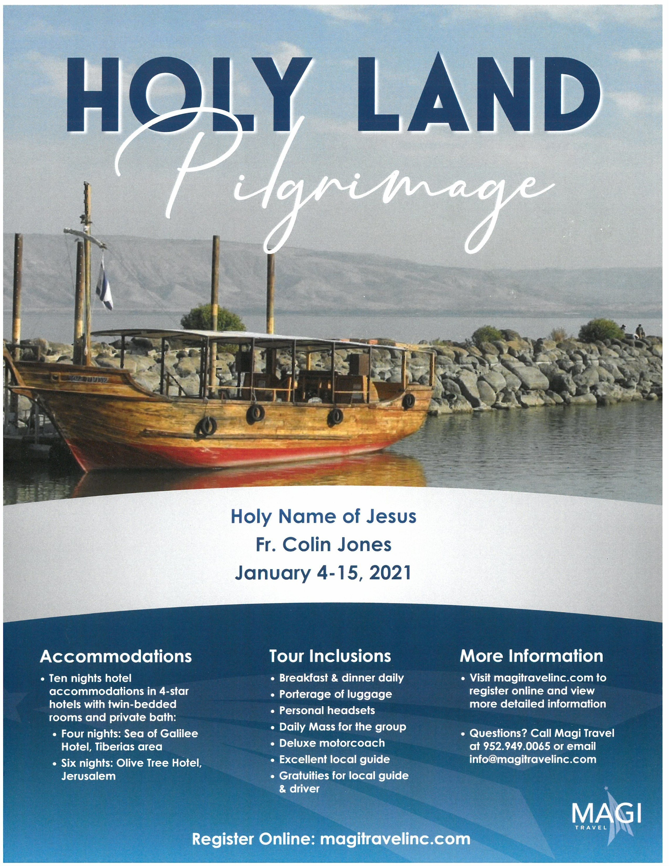Holy Land Pilgrimage Flyer Front