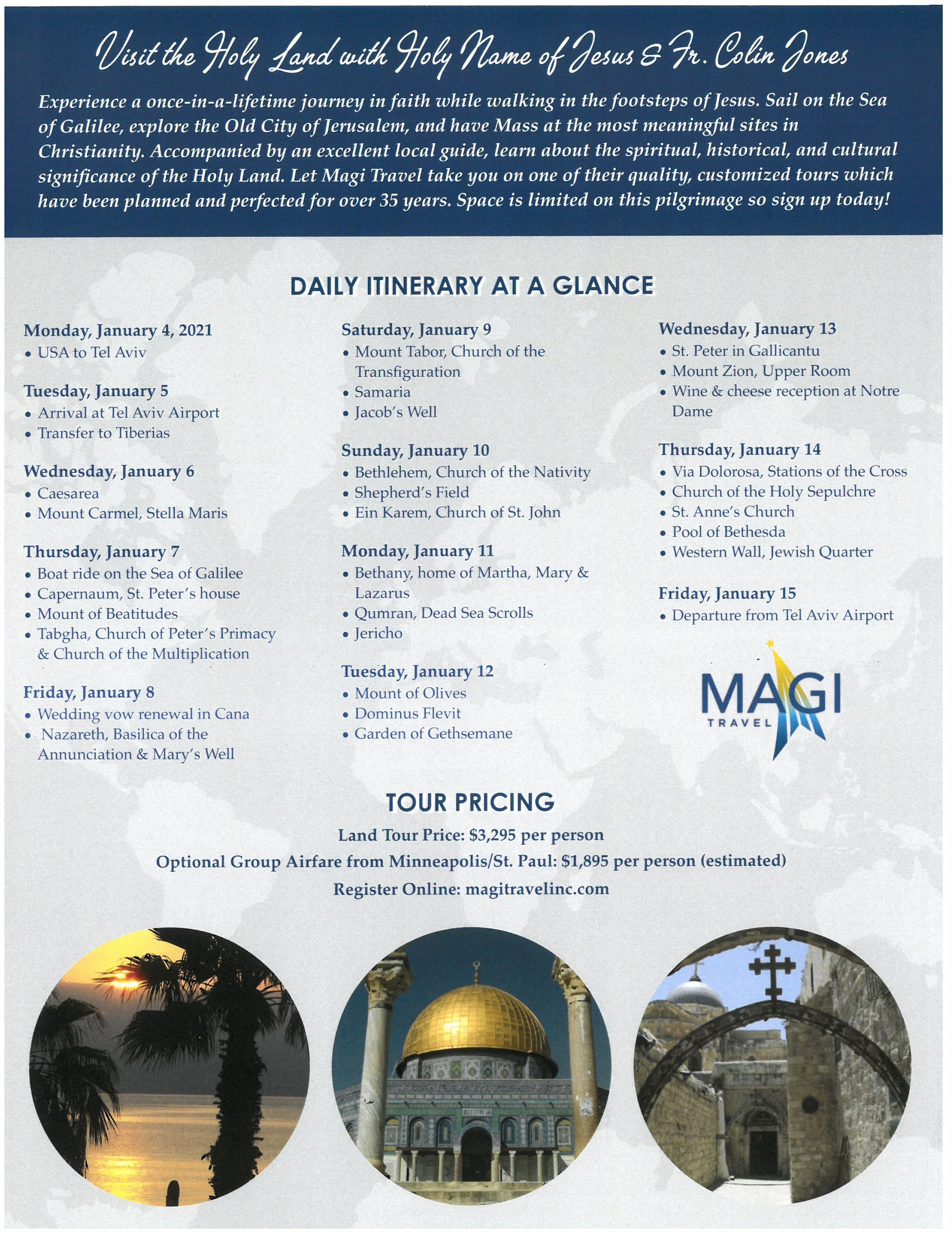 Holy Land Pilgrimage Flyer Back